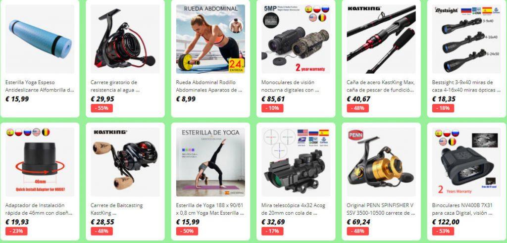 Descuentos en productos de deporte en AliExpress